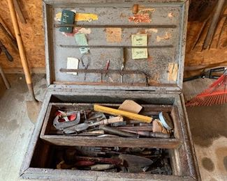 """#97Vintage trunk on casters with old tools 32""""x25""""x19"""" $125.00"""
