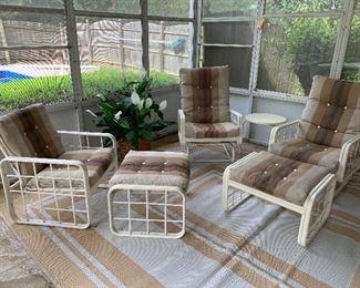 "#1Vintage Werzalit patio chair $50.00  #2Vintage Werzalit patio chair rocks 2@$60ea.  #3Vintage Werzalit ottoman 2 @ $30 ea.  #4Vintage Werzalit patio glider sofa 71""L $100.00  #5Vintage Werzalit patio side table 18""x19"" 2 @ $20 ea."