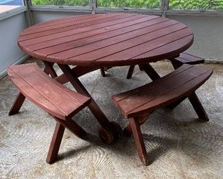 """#7Redwood round patio table with 4 benches  60""""x27"""" $100.00"""