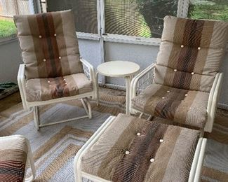 #2Vintage Werzalit patio chair rocks 2 @ $60 ea.  #3Vintage Werzalit ottoman 2 @ $30 ea.