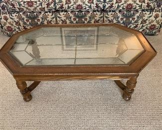 """#15Oak coffee table with stained glass top 42""""x26""""x16"""" $60.00"""