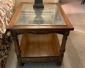 """#16Oak end table with stained glass top  26""""x22""""23"""" $40.00"""