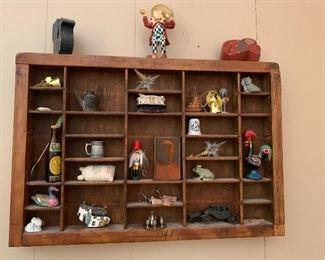 """#18Wooden display shelf with knick knacks 17""""x11""""x1.5"""" $20.00"""