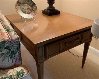 """#25American of Martinsville mid century end table with 1 drawer and brass feet 28""""x25""""21"""" 2 @ 60 each"""