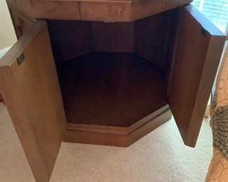 """#28American of Martinsville mid century octagon side table with 2 doors 26""""x23"""" $40.00"""