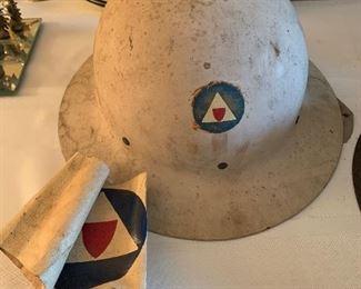 #38WWII Civil Defense Steel Helmet with arm band $100.00