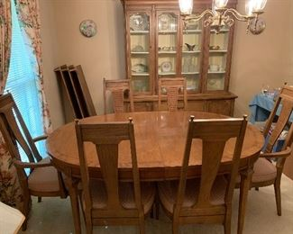 """#49American of Martinsville """"Tribune"""" mid century oval dining table with 3 leaves and 6 chairs (captains chairs)44""""x65-103""""x29"""" bought 11/6/1963 $275.00"""