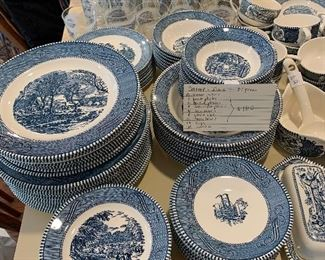 #51Currier & Ives blue and white dinnerware 85 pieces $180.00