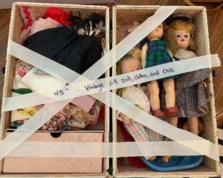 #54Vintage Vogue Jill doll with case, clothes and shoes $45.00