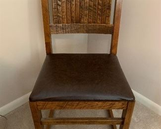 #61Oak side chair with vinyl seat made by Young Hinkle Corporation $25.00