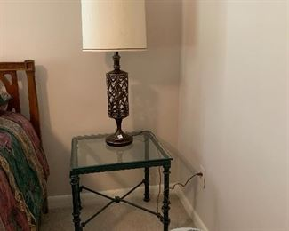 """#62Glass top side table with green metal base 20""""x20"""" 2@$40"""