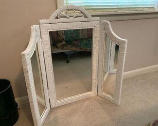 #63White wicker vanity mirror $20.00
