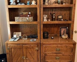 """#71Young Hinkle cabinet 30""""x18""""x76"""" Left has 3 open shelves and closed cabinet with 2 shelves. Right side has 3 open shelves with 3 drawers 2@$80 each"""
