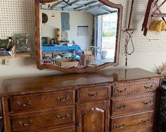"""#82Ethan Allen dresser with mirror 72""""x19""""x33"""" 9 drawers $150.00"""
