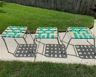 #89Vintage folding stools. 3@$20.00 each $60.00
