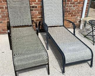 #92Outdoor chaise lounge $40.00 (left).          #94Chaise lounge  $30.00 (right)