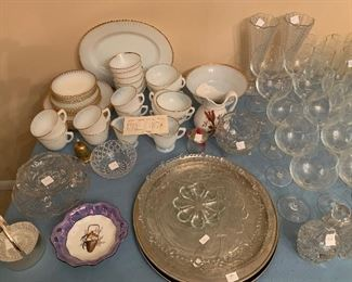 #100White and Gold vintage china set. 40 pieces $50.00