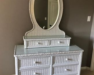 """Lexington white wicker dresser with mirror and glass top. Dresser measures 46"""" wide x 19"""" deep x 30"""" high and the mirror measures 35"""" wide x 10"""" deep x 48"""" high - $200"""