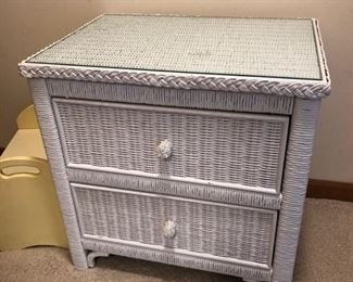 """Lexington white wicker nightstand with glass top 24"""" wide x 17"""" deep x 24"""" high - $50"""