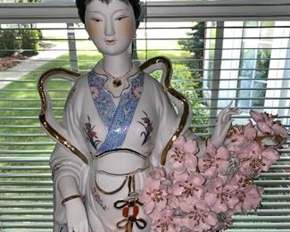 "$135 LARGE PORCELAIN ASIAN LADY WITH FLOWERS FIGURINE 13"" WIDTH x 28"" HEIGHT"