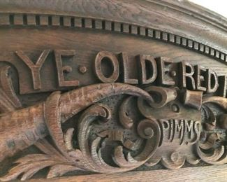 https://ctbids.com/#!/description/share/537420 ''Ye Olde Red Hovse'' Decorative Mantle. This mantle is hand carved and solid oak wood. This 1800's mantle was from England and was used as a door marker above the entrance door to the house. The family's surname was Pimms.  5' long x 11'' height x 5'' depth.