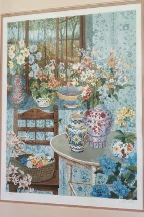 """https://ctbids.com/#!/description/share/537354 Very rare John Powell serigraph numbered 234 of 300. Signed as well. Named """"Country Home."""" Very difficult to find this one anywhere online. Frame measures 38"""" wide and 47"""" in height.  """"John Powell has worked in the arts through out his life. Born in Hollywood, California, he began to paint at the age of 16. Over the past 45 years he has melded his life experiences into a signature style of painting. His paintings are precise and intricate, laced with lyrical realism and expressing his love for color, flowers, gardens, pottery and art from around the world, interesting fabrics and visions of his travels.  John has had several one man shows in the United States and Japan. He was honored by the World Federation United Nations (WFUNA) during their 50th anniversary celebration, being chosen as their artist of the year and at that time his work was added to the permanent collection of the Philatelic Museum at the Palais de Nations in Geneva, Swi"""