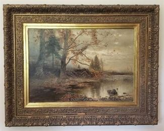 """https://ctbids.com/#!/description/share/538053 Arthur Parton (1842-1914) was a Hudson River School artist. Paintings by Parton (1842-1914) can be found in the Brooklyn Museum, the Indianapolis Museum of Art, the Newark Museum, the High Museum, the Hudson River Museum, the Hickory Museum, and the Metropolitan Museum, among others. The date on this oil on canvas is 1886. The approximate size with frame is 34"""" x 40"""". This scene depicts the fall season. It is believed that the other three season are currently in museums making this one very special piece of art.   Arthur was the son of George Parton, a cabinet maker, and his wife Elizabeth.  In his formative years, Parton studied with William Trost Richards and at the Pennsylvania Academy.  Adopting the style of the Hudson River painters, his first exhibit came in 1862 in Philadelphia, but by 1865 he was settled in New York City. Parton journeyed to Europe in 1869, where he came under the spell of the Barbizon painters.  This probably mark"""