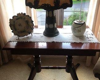 1940's Table w Brass Feet Slag Glass Lamp ( Art Nouveau)