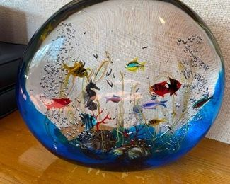 "Fascinating Extra Large Murano Art Glass Aquarium Sculpture featuring gorgeous colorful fish, a jellyfish, a seahorse and coral reef by Italian Maestro Elio Raffaeli. This fantastic glass piece measures about 14"" wide, 14"" in height, 5"" thick and weighs over 60 pounds!  In Excellent Condition wear. Signed by the Artist on it's base, ""Elio Raffaeli""."