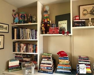 Books and some clown figurines