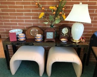 Asian sofa table, Clocks, Pair of modern in style footstools