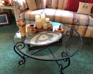 Glass and Iron coffee table, pottery, battery candles....