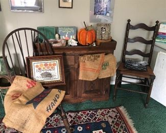 The Windsor Style Chair on the left is amazing; pegged!  Seed bags!