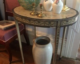 Small Table, Stoneware Churn and Vases