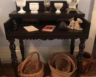 Spinet Desk with baskets and small items