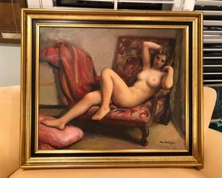Oil on canvass French painter  MauriceAmbrose  Ehlinger from 1896 to 1981 Lot 74.  Artist  known for his nudes paintings.  This one was bought in  France paid $3,500. Has bill.  Taking bids
