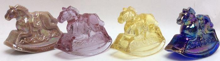 (3) MOSSER CARNIVAL GLASS HORSES