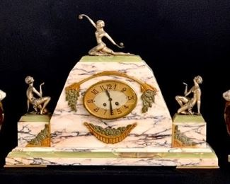 Art Deco Marble Gilded & Silvered Bronze Clock