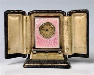 Miniature Guilloche Enamel & Silver Carriage Clock