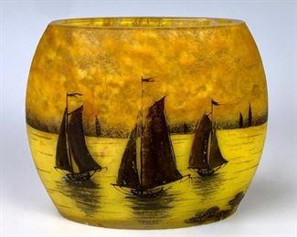 """Daum Nancy Cameo """"Sailboats"""" Pillow Vase"""