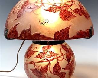 Signed LeGras Cameo Glass Table Lamp C. 1920
