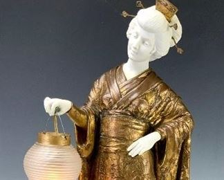 Dominique Alonzo (1910-1930) Japanese Lady w/ Lamp