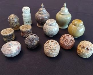 Ornate Mini Stone Carved Containers