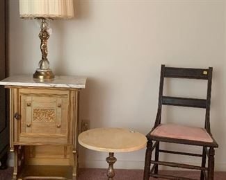 Vintage marble top sheet music storage table, vintage marble top table and lamp
