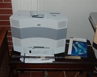 Large Bose radio with CD discs and speakers