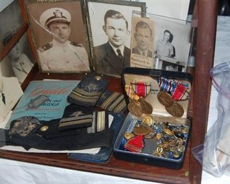 World War 2 medals, photos cap dog tags military card-sold as a collection