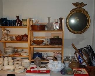 Chocolate set, milk glass punch bowl and cups, tennis rackets, sets of china, decanter and more