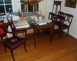 Needlepoint chairs-set of 6 and table, Dough bowl on legs