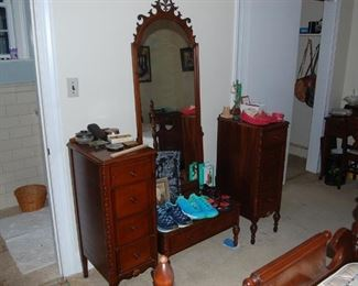 3 pieces, vanity mirror and 2 side cabinets- White's of Mebane NC