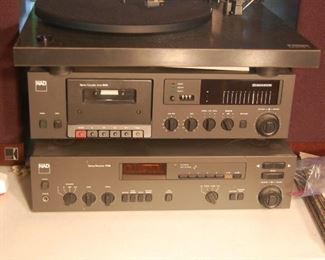 Stereo: NAD stereo receiver 7140, NAD Cassette Deck 6155 and TurnTable Rega Planar 3